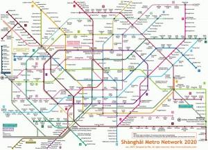 Карта шанхайского метрополитена в 2020 году